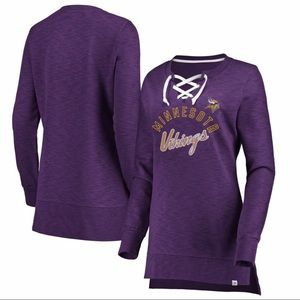 Majestic Minnesota Vikings Purple Lace-Up Tunic M